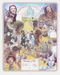 Autographs: WIZARD OF OZ MOVIE CAST - POSTER SIGNED CO-SIGNED BY: JACK HALEY SR., RAY BOLGER