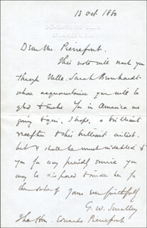 G. W. SMALLEY - AUTOGRAPH LETTER SIGNED 10/13/1880
