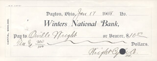 Autographs: ORVILLE WRIGHT - CHECK TRIPLE SIGNED - WRIGHT CYCLE CO. 01/17/1908
