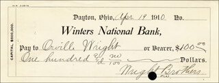 Autographs: ORVILLE WRIGHT - CHECK TRIPLE SIGNED 04/19/1910