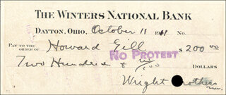 WILBUR WRIGHT - CHECK SIGNED-WRIGHT BROTHERS/WILBUR 10/11/1911 CO-SIGNED BY: HOWARD WARFIELD GILL - HFSID 6080