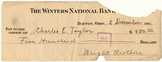 Autographs: WILBUR WRIGHT - CHECK SIGNED-WRIGHT BROTHERS/WILBUR 12/02/1911 CO-SIGNED BY: CHARLES E. TAYLOR