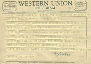 GENERAL ROBERT W. PORTER JR. - TELEGRAM UNSIGNED 10/20/1964