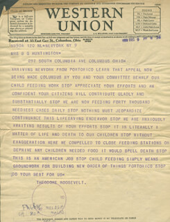 BRIGADIER GENERAL THEODORE ROOSEVELT JR. - TELEGRAM UNSIGNED 12/09/1930