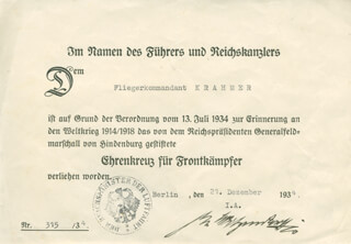 Autographs: HERMANN WILHELM GOERING - DOCUMENT SIGNED BY A DEPUTY