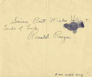 Autographs: PRESIDENT RONALD REAGAN - AUTOGRAPH NOTE SIGNED CIRCA 1944