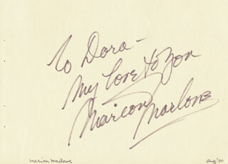 MARION MARLOWE - AUTOGRAPH NOTE SIGNED 8/1970