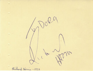 RICHARD HARRIS - INSCRIBED SIGNATURE CIRCA 1972
