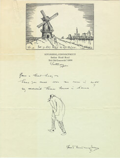 HENDRIK WILLEM VAN LOON - AUTOGRAPH NOTE ON ORIGINAL ART SIGNED 05/16/1936
