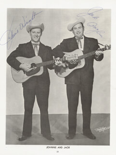 JOHNNIE & JACK - MAGAZINE PHOTOGRAPH SIGNED CO-SIGNED BY: JOHNNIE WRIGHT, JACK ANGLIN