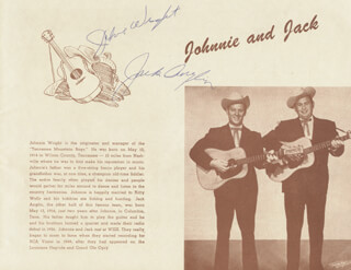 JOHNNIE & JACK - MAGAZINE PAGE SIGNED CO-SIGNED BY: JOHNNIE WRIGHT, JACK ANGLIN