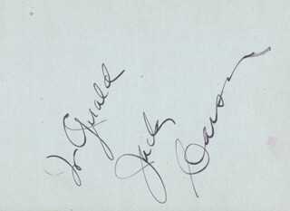 JACK CARSON - INSCRIBED SIGNATURE