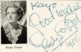 GLADYS COOPER - AUTOGRAPH NOTE SIGNED 1956