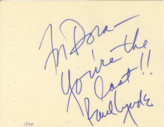 PAUL LYNDE - AUTOGRAPH NOTE SIGNED
