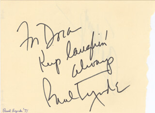 PAUL LYNDE - AUTOGRAPH NOTE SIGNED 1971 CO-SIGNED BY: GIG YOUNG