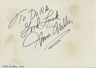 ANN MILLER - AUTOGRAPH NOTE SIGNED CIRCA 1971