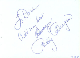 POLLY BERGEN - AUTOGRAPH NOTE SIGNED CIRCA 1969 CO-SIGNED BY: MARION MARLOWE