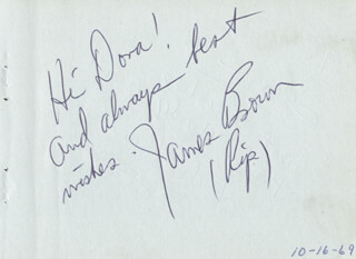 Autographs: JAMES L. RIP BROWN - AUTOGRAPH NOTE SIGNED CIRCA 1969 CO-SIGNED BY: RICHARD DICK FRANK