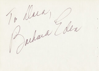 BARBARA EDEN - INSCRIBED SIGNATURE CO-SIGNED BY: REX REED