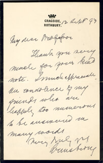 WILLIAM G. ARMSTRONG - AUTOGRAPH LETTER SIGNED 09/12/1893