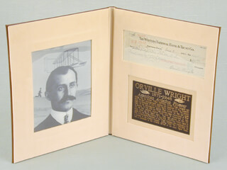 Autographs: ORVILLE WRIGHT - CHECK SIGNED 06/08/1946