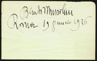Prime Minister Benito Mussolini (italy) Autographs 646