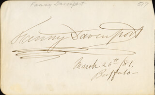 FANNY DAVENPORT - AUTOGRAPH 03/26/1881 CO-SIGNED BY: MAJOR LEVI THOMAS GRIFFIN