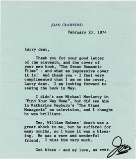 JOAN CRAWFORD - TYPED LETTER SIGNED 02/20/1974