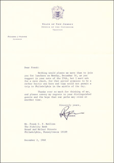 GOVERNOR RICHARD J. HUGHES - TYPED LETTER SIGNED 12/02/1968
