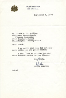 ARLEN SPECTER - TYPED LETTER SIGNED 09/08/1972