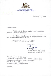 GOVERNOR RAYMOND P. SHAFER - TYPED LETTER SIGNED 01/31/1964