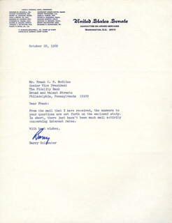 BARRY GOLDWATER - TYPED LETTER SIGNED 10/22/1969