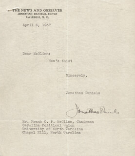 JONATHAN WORTH DANIELS - TYPED LETTER SIGNED 04/06/1937