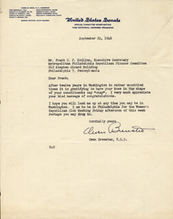 Autographs: OWEN BREWSTER - TYPED LETTER SIGNED 09/25/1946