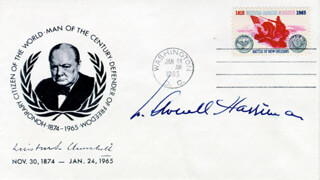 Autographs: W. AVERELL HARRIMAN - COMMEMORATIVE ENVELOPE SIGNED