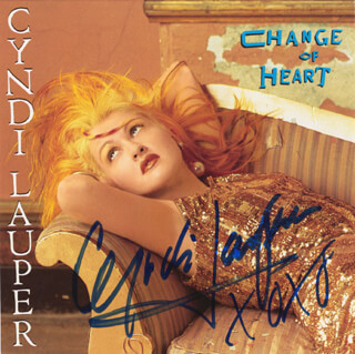 CYNDI LAUPER - RECORD COVER SIGNED