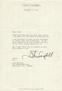 GLEN CAMPBELL - TYPED LETTER SIGNED 11/05/1971