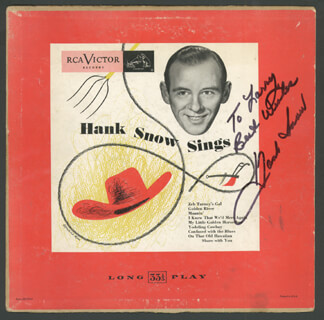 HANK SINGING RANGER SNOW - INSCRIBED RECORD ALBUM SIGNED
