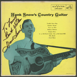 Autographs: HANK SINGING RANGER SNOW - INSCRIBED RECORD ALBUM SIGNED