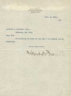 Autographs: ASSOCIATE JUSTICE LOUIS D. BRANDEIS - TYPED LETTER SIGNED 09/08/1914