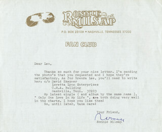 RONNIE MILSAP - TYPED LETTER SIGNED