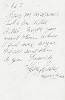 HARRY WIERE - AUTOGRAPH LETTER SIGNED 7/1987