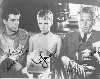 ROSEMARY'S BABY MOVIE CAST - AUTOGRAPHED SIGNED PHOTOGRAPH CO-SIGNED BY: MIA FARROW, JOHN CASSAVETES, RALPH BELLAMY