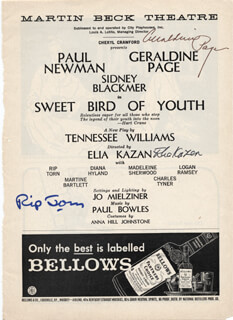 SWEET BIRD OF YOUTH BROADWAY CAST - SHOW BILL SIGNED CO-SIGNED BY: ELIA KAZAN, GERALDINE PAGE, RIP TORN