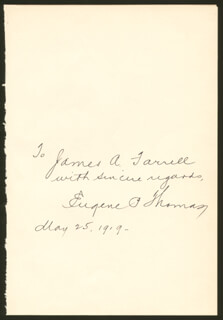 EUGENE P. THOMAS - AUTOGRAPH NOTE SIGNED 05/25/1919