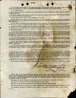 FRANK SINATRA - CONTRACT SIGNED 07/31/1952