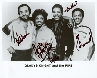 GLADYS KNIGHT & THE PIPS - AUTOGRAPHED SIGNED PHOTOGRAPH 1986 CO-SIGNED BY: GLADYS KNIGHT, GLADYS KNIGHT & THE PIPS (BUBBA KNIGHT), GLADYS KNIGHT & THE PIPS (WILLIAM GUEST), GLADYS KNIGHT & THE PIPS (EDWARD PATTEN)