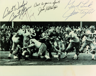 BART STARR - AUTOGRAPHED SIGNED PHOTOGRAPH CO-SIGNED BY: JIM TAYLOR, PAUL V. HORNUNG, JIM KATCAVAGE