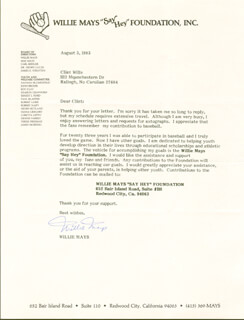 WILLIE SAY HEY KID MAYS - TYPED LETTER SIGNED 08/03/1983