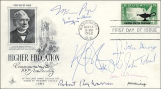 MARIO PUZO - FIRST DAY COVER SIGNED CO-SIGNED BY: JOHN HERSEY, WILLIAM F. BUCKLEY JR., ALLEN GINSBERG, KURT VONNEGUT, IRVING WALLACE, ROBERT PENN WARREN, JOHN W. TOLAND